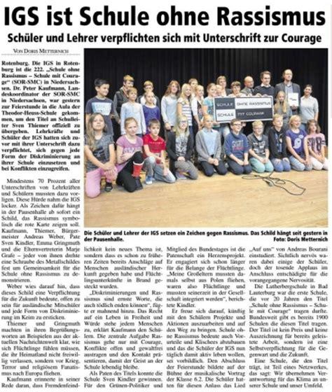 Lebenslauf Digitale Unterschrift Rotenburger Rundschau Igs Ist Schule Ohne Rassismus Sven Christian Kindler