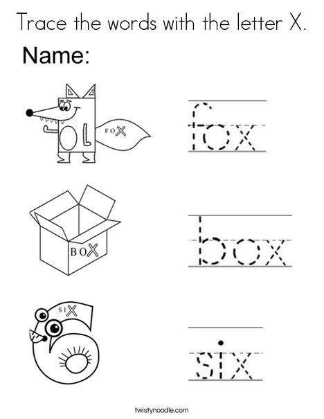 Letter X Coloring Pages Preschool by Trace The Words With The Letter X Coloring Page Twisty