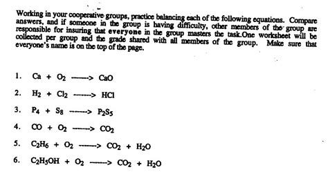 Worksheet Writing And Balancing Chemical Reactions Answers by Chemical Equation Word Problems Worksheet Equation