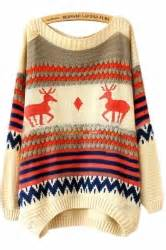 Jumper Import Stripe Blue beige tacky stripe reindeer jumper sweater