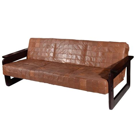 brazilian furniture brazilian rosewood and leather sofa by percival lafer at 1stdibs