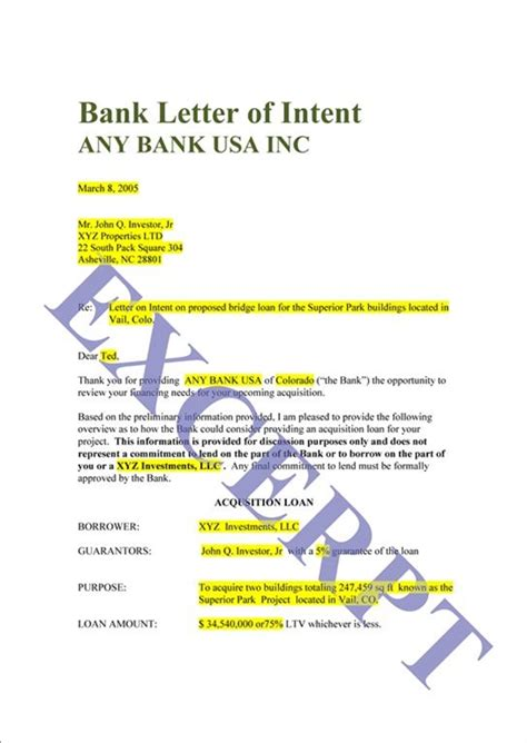 Loan Letter Of Intent Exle Loan Letter Of Intent Realcreforms