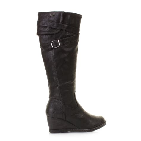 black leather knee high boots wedge heel womens xti black wedge heel leather style knee high boots
