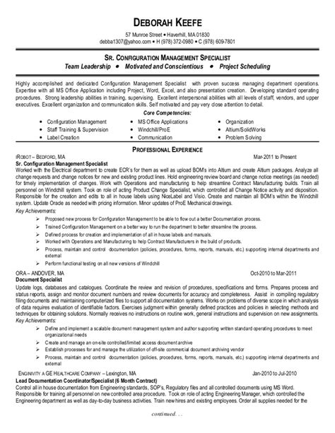 Configuration Management Specialist Sle Resume by Deb Keefe Resume Sr Configuration Management Specialist