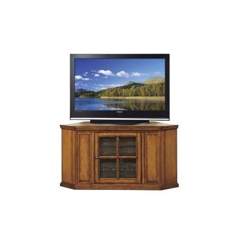 leick furniture 46 quot corner tv stand in burnished oak finish 452278