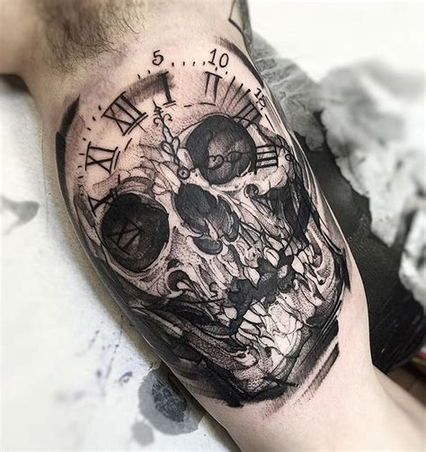 clock face tattoo designs skull clock best design ideas