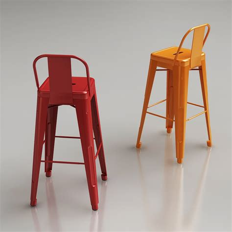 tolix bar stools with back 3d tolix wide back bar stool high quality 3d models