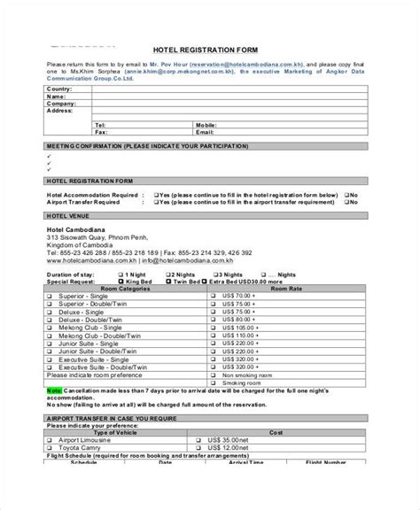 Printable Registration Form Templates 9 Free Pdf Documents Download Free Premium Templates Hotel Guest Registration Form Template
