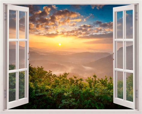 Imagenes De Jardines En Ventanas | vinilo decorativo paisaje puesta de sol
