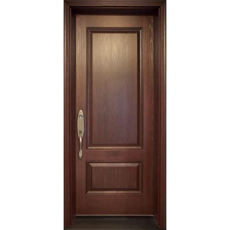 a premium fiberglass single entry door with 2 panels