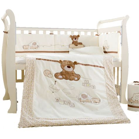 Babies Crib Bedding Set 9pcs Cotton Baby Cot Bedding Set Newborn Crib Bedding Detachable Quilt Pillow Bumpers Sheet Cot