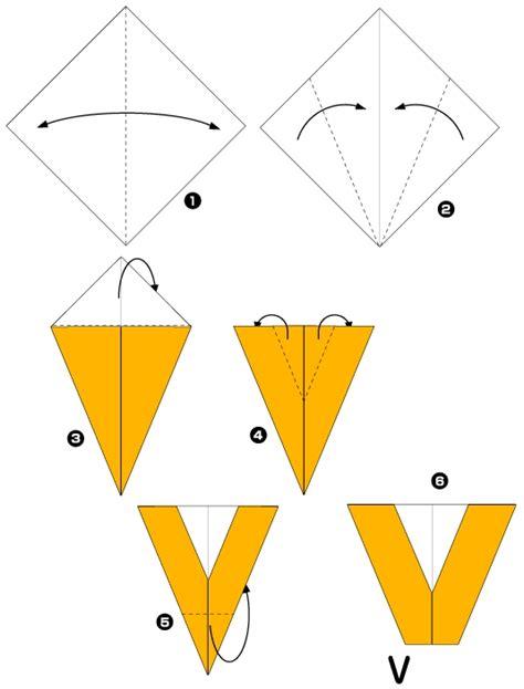 Origami V - origami de i u la lettre v