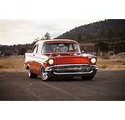 1957 Chevy Bel Air Blazing Copper Front Stance