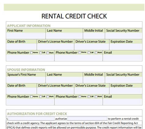 rental credit application template rental credit check forms free and software