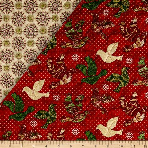 Quilted Fabric For Sale peace on earth sided quilted doves discount