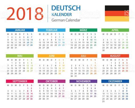 Kalender 2018 Indonesia Vector Kalender 2018 Deutsche Version Vektor Illustration