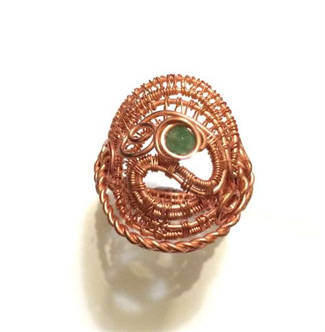 Handmade Rings Etsy - wire wrapped jewelry handmade copper ring heady ring by