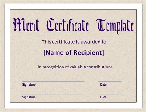 templates for merit certificates top 5 free merit certificate templates word templates