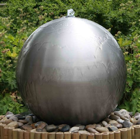 brushed cm stainless steel sphere water feature led