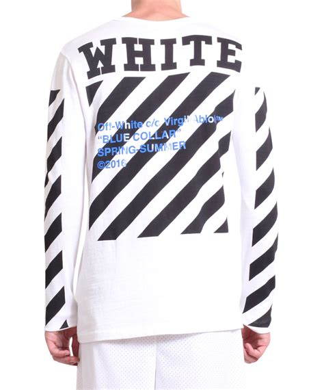 Kaos Offwhite White White 10 lyst white c o virgil abloh logo cotton t shirt in white for