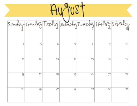 august  calendar  printable  craft eat