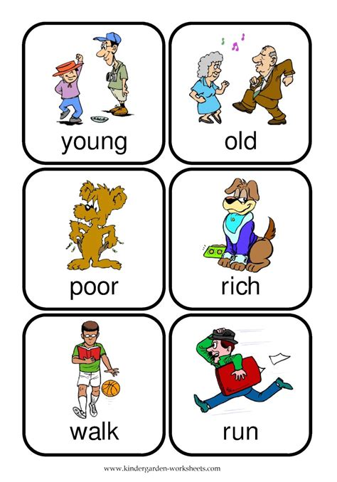 printable flashcards for preschool opposites kindergarten worksheets free printable