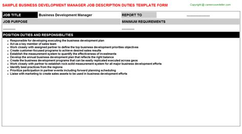 Work Experience Certificate For Business Development Executive Business Development Manager Title Docs