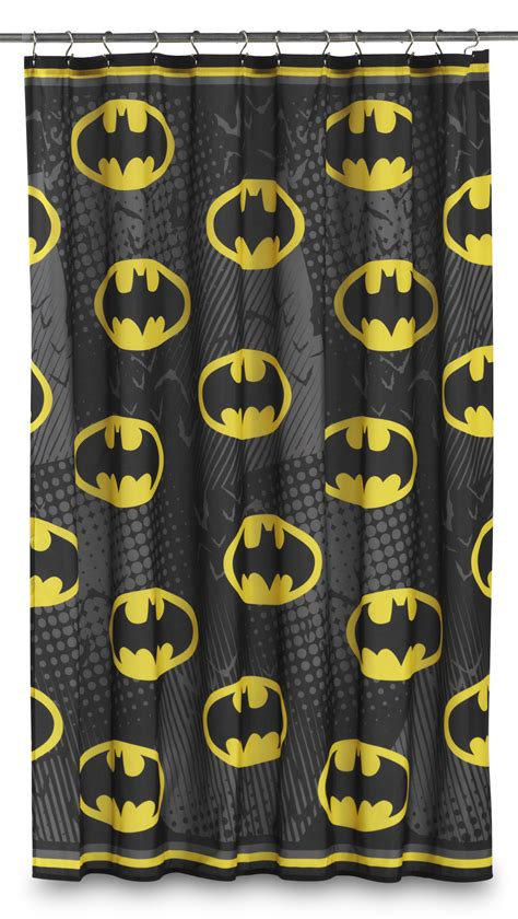 batman curtain dc comics batman fabric shower curtain bat symbol home
