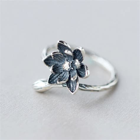 925 Sterling Silver Open Ring lotus flower 925 sterling silver open rings for
