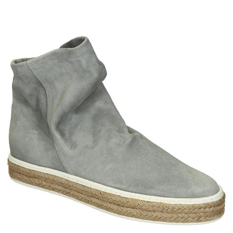 flat slip ons ankle boots in pearl grey soft suede leather