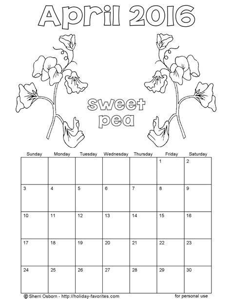 printable calendar 2016 to color printable april 2016 calendars holiday favorites