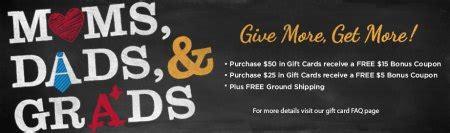 Ruby Tuesday Gift Card Bonus - ruby tuesday free 15 bonus card when you purchase a 50 gift card