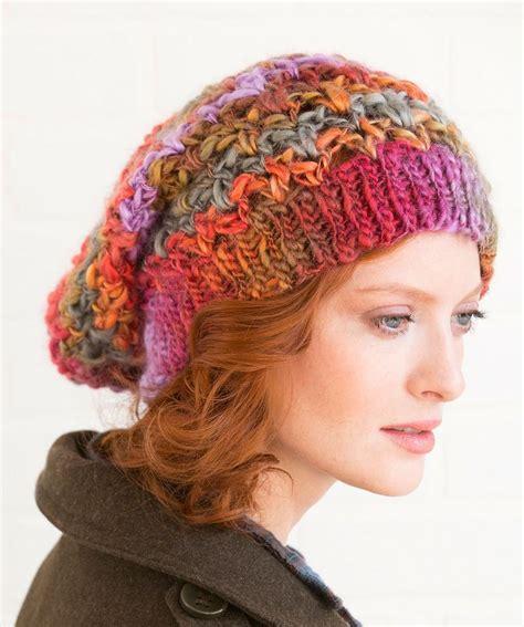 pattern red heart yarn upscale slouchy hat free crochet pattern in red heart