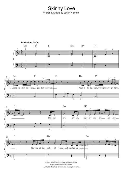 tutorial piano skinny love skinny love sheet music direct