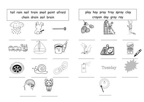 ai spelling pattern worksheets ai ay long a sound worksheets by barang teaching