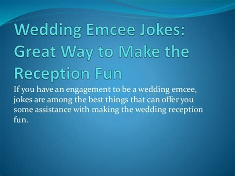 Wedding Emcee Jokes: Great Way to Make the Reception Fun