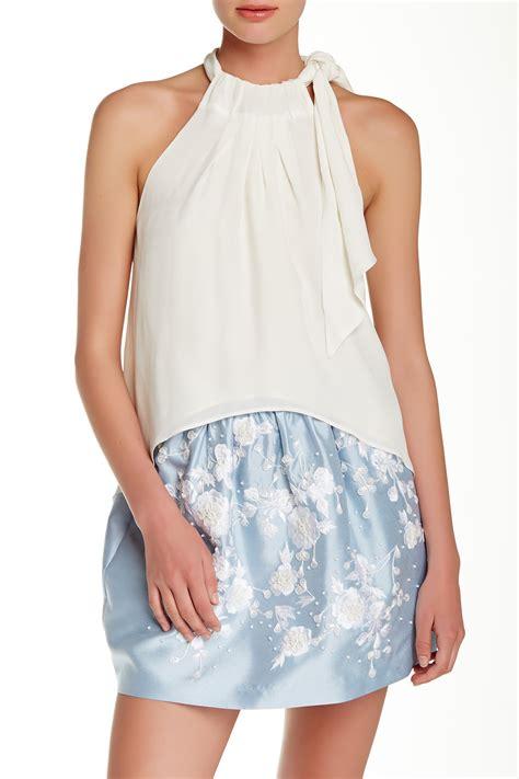Blouse Batik Fatin White Tp silk blouse side tie blue denim blouses