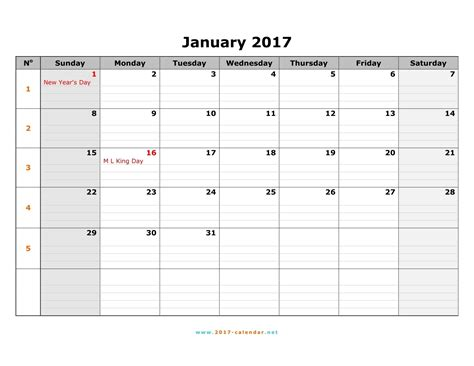 sunday calendar template printable 2017 calendar