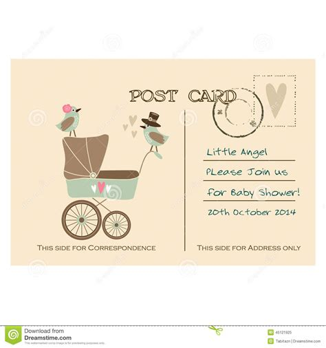 And Baby Shower by Vintage Baby Shower Greeting Postcard Invitation