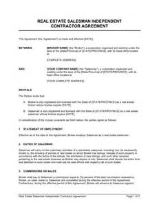 Real Estate Independent Contractor Agreement Template by Real Estate Salesman Independent Contractor Agreement