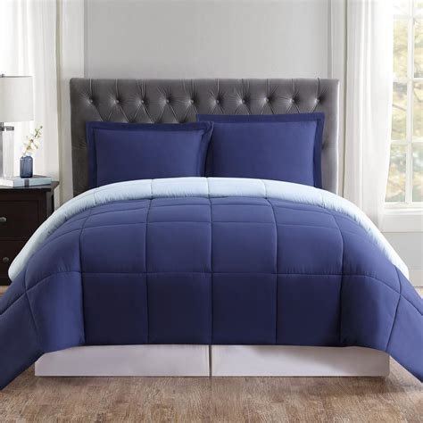 navy blue comforter sets king truly soft everyday navy and light blue reversible king
