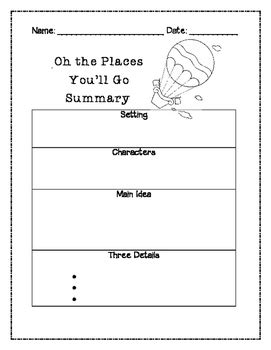 Oh the Places You'll Go Summary Graphic Organizer by