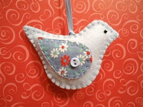handmade felt bird ornament