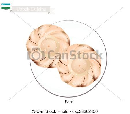 uzbek bread stock photos royalty free images vectors clipart vector of patyr or traditional uzbek aromatic flat