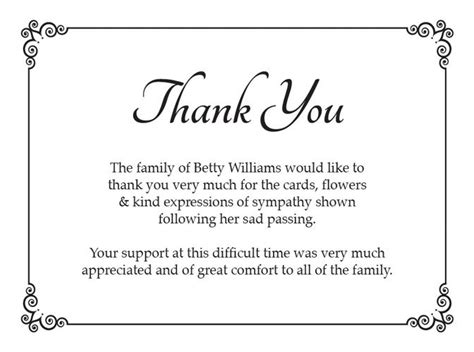 Thank You Letter After Acknowledgement Funeral Thank You Card Ideas Search Funeral