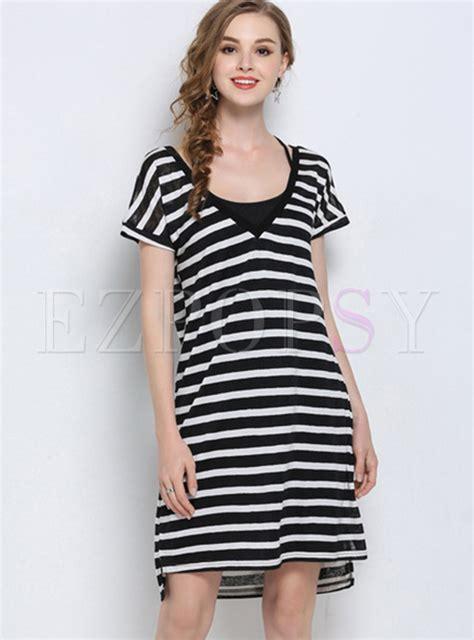V Neck Striped Shirt Dress black v neck striped t shirt dress ezpopsy
