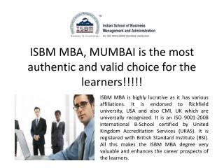 Distance Mba From Mumbai by Isbm Mumbai Presentations Channel