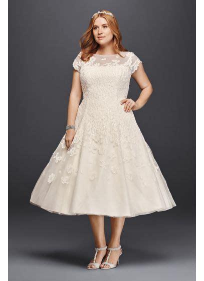 oleg cassini cap sleeve tea length wedding dress davids