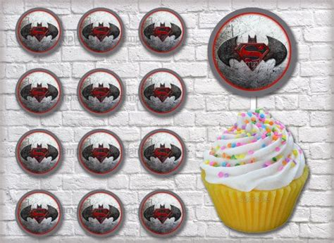 Cupcake Topper Batman Superman instant batman vs superman 2 quot circles for cupcake toppers and birthday