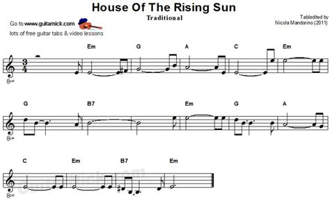 sheet music for house of the rising sun house of the rising sun sheet music music pinterest
